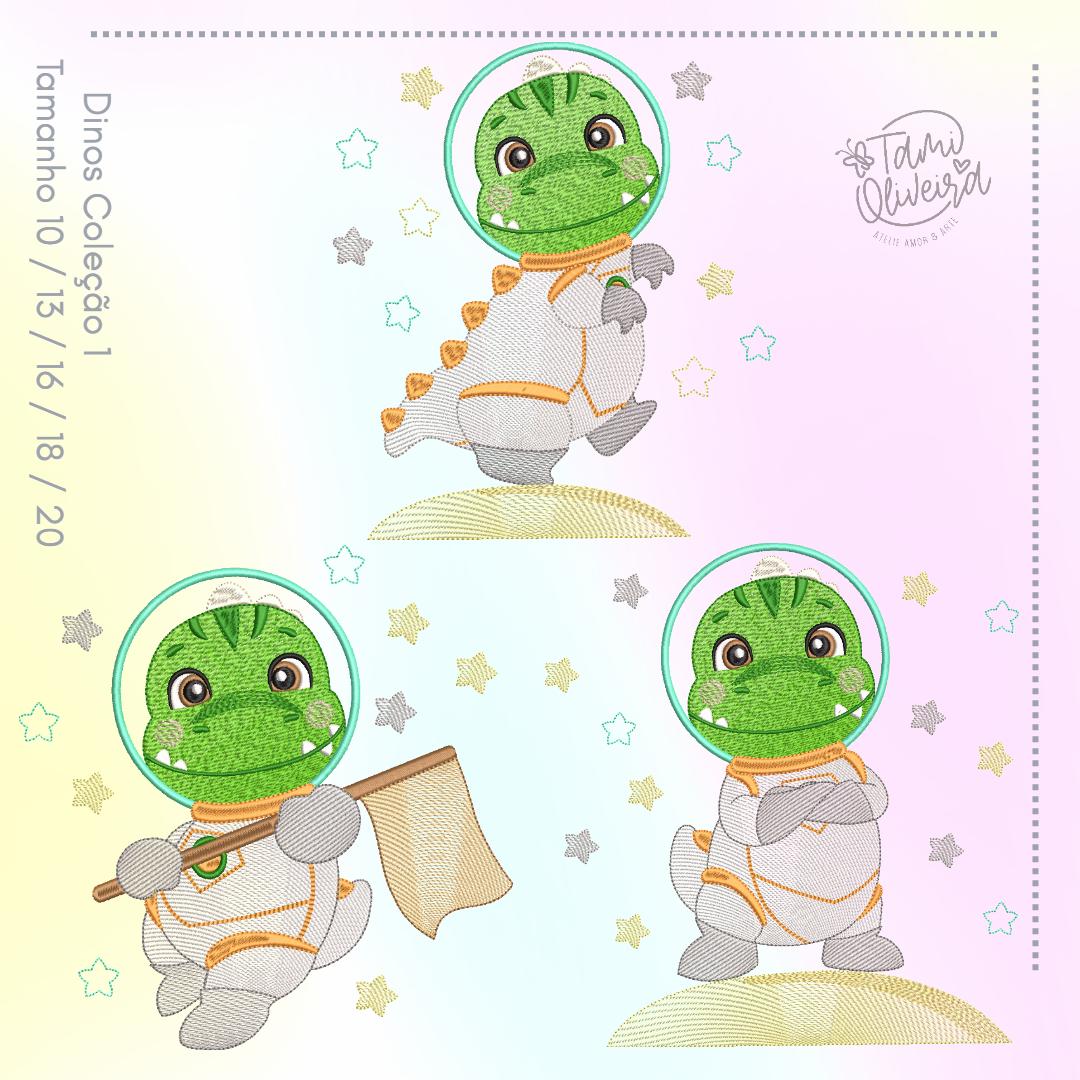 Matrizes de Bordado - Dinos Astronautas Verdinho