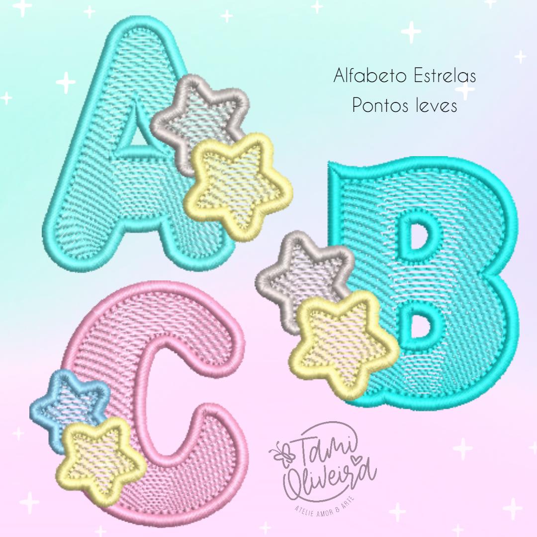 Matrizes de Bordado - Alfabeto Estrela Pontos Leves