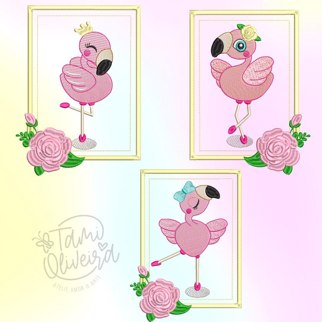 Matrizes de Bordado - Trio Flamingos