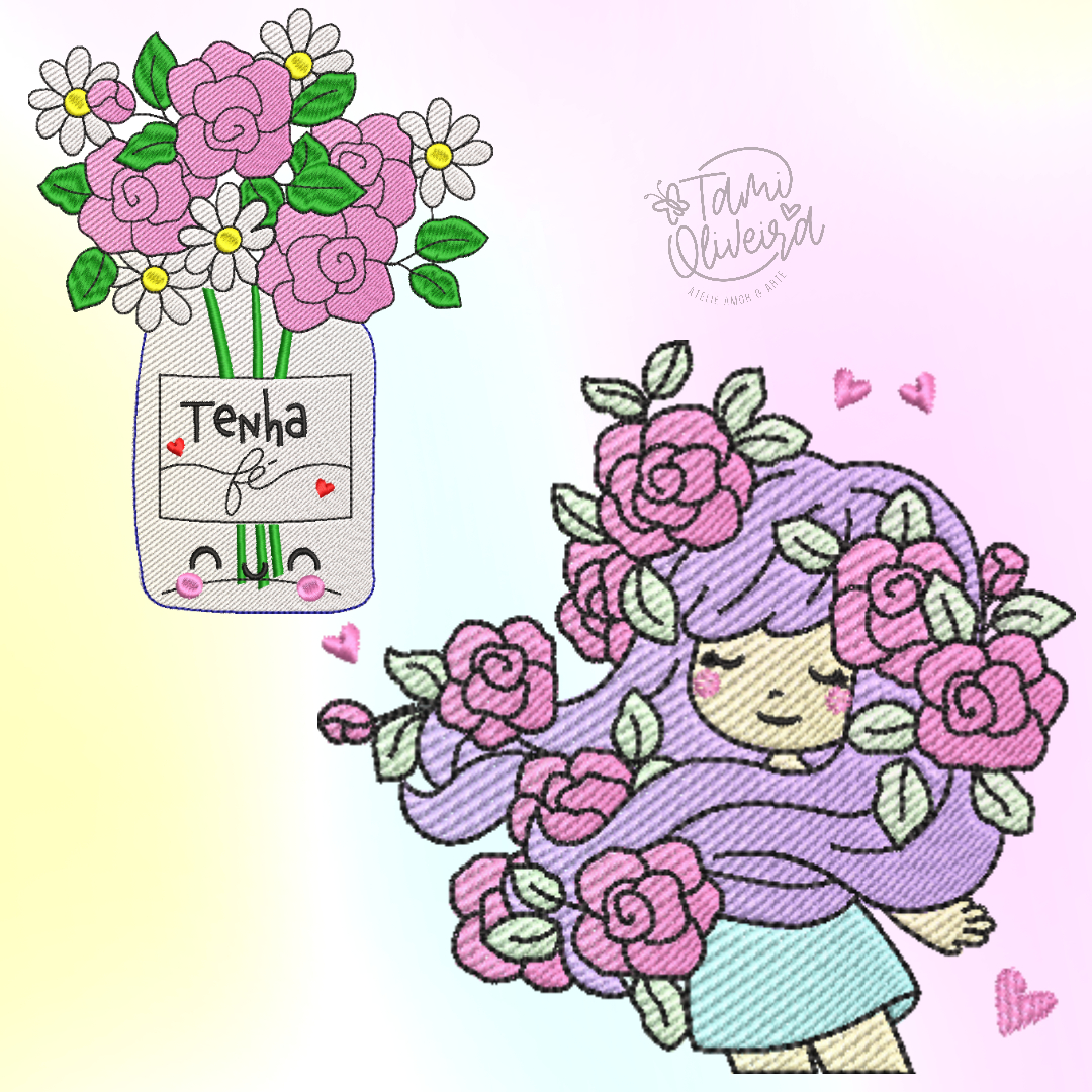 Matrizes de Bordado - Duplinha Menina Floral