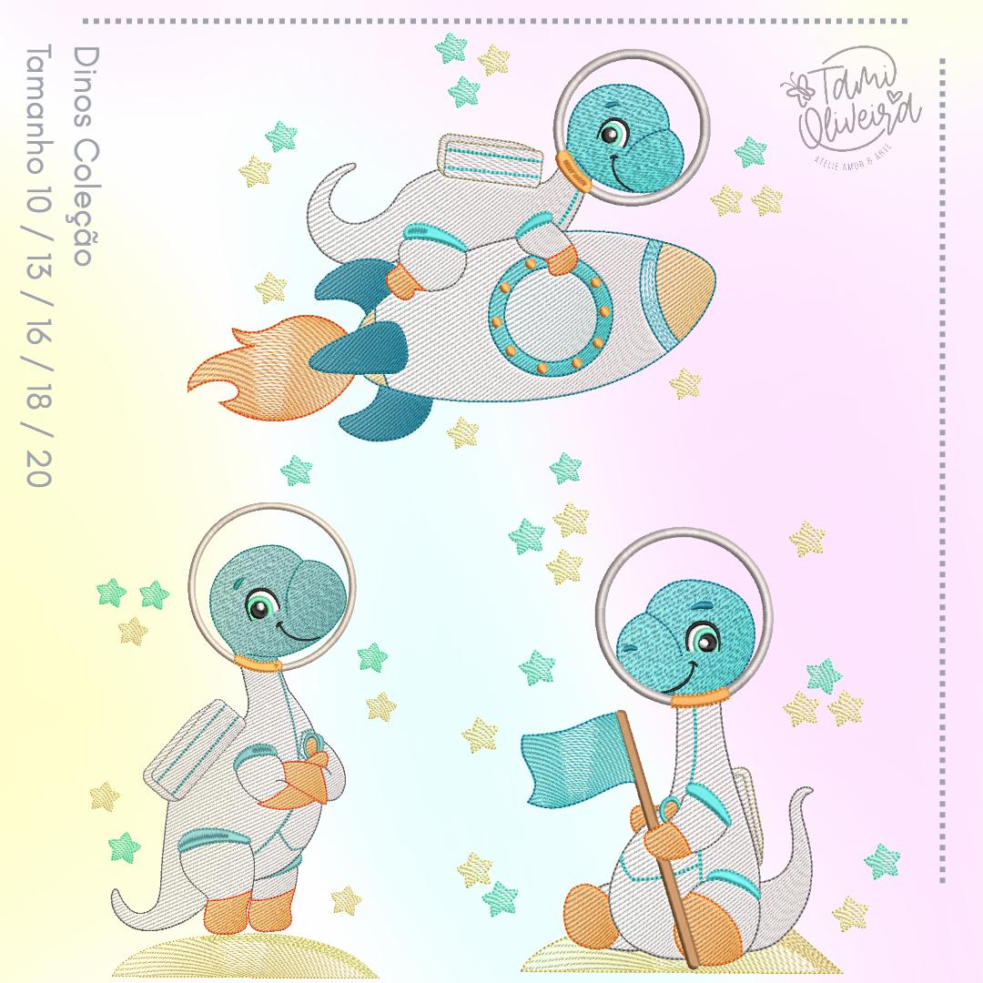 Matrizes de Bordado - Dinos Astronautas Azulzinho