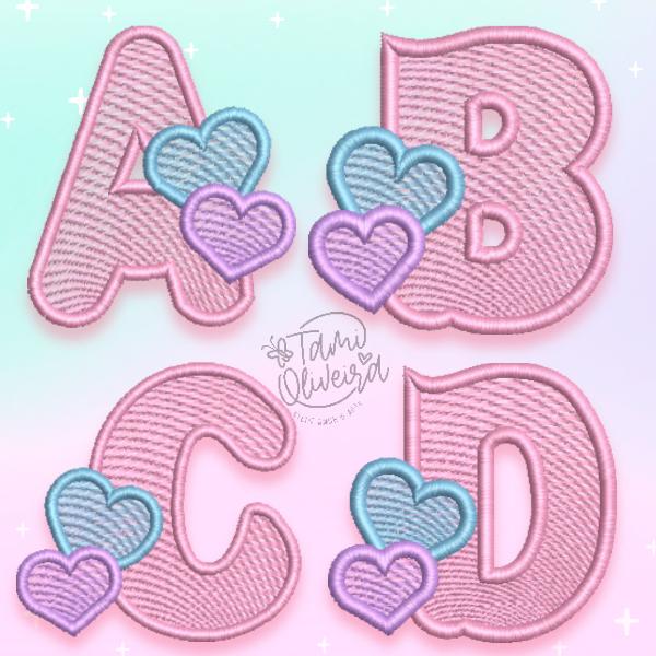 Matrizes de Bordado - Alfabeto Coração  - Pontos leves
