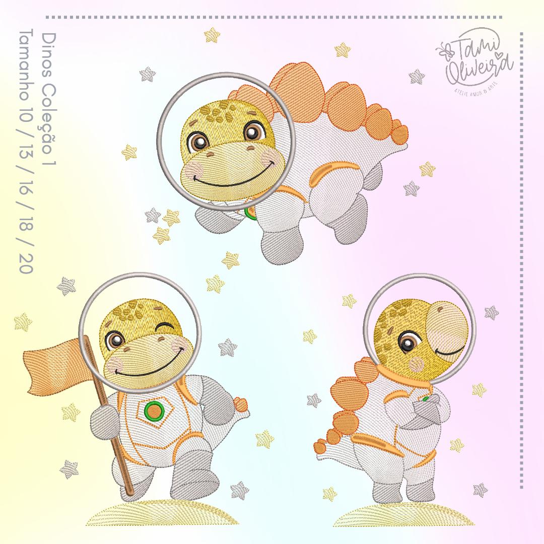 Matrizes de Bordado - Dinos Astronautas Amarelinho