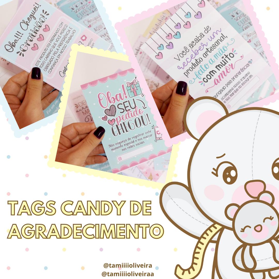 Tags de Agradecimento Candy - Produto Físico