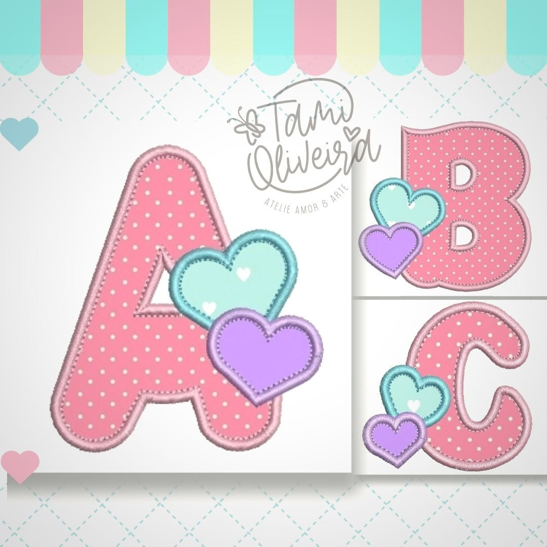Matrizes de Bordados - Alfabeto  Coração